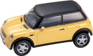 Mini Cooper- Yellow/ Black Roof 1/87